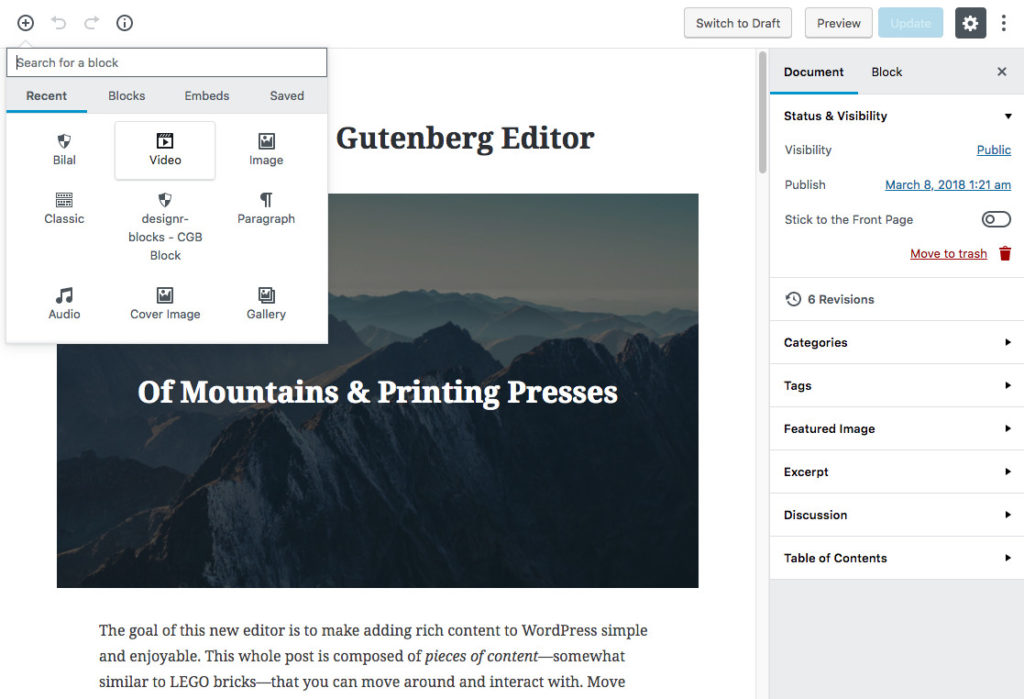 Video: Gutenberg – WordPress 5.0 Quick Overview