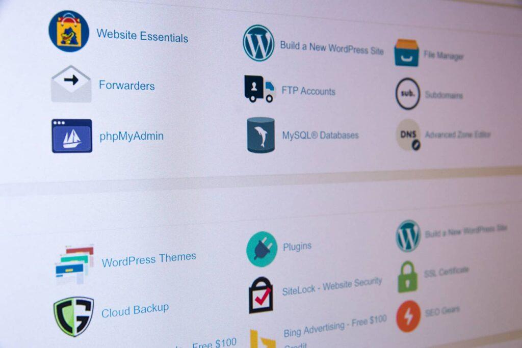 A screenshot of Website Hosting Admin Panel