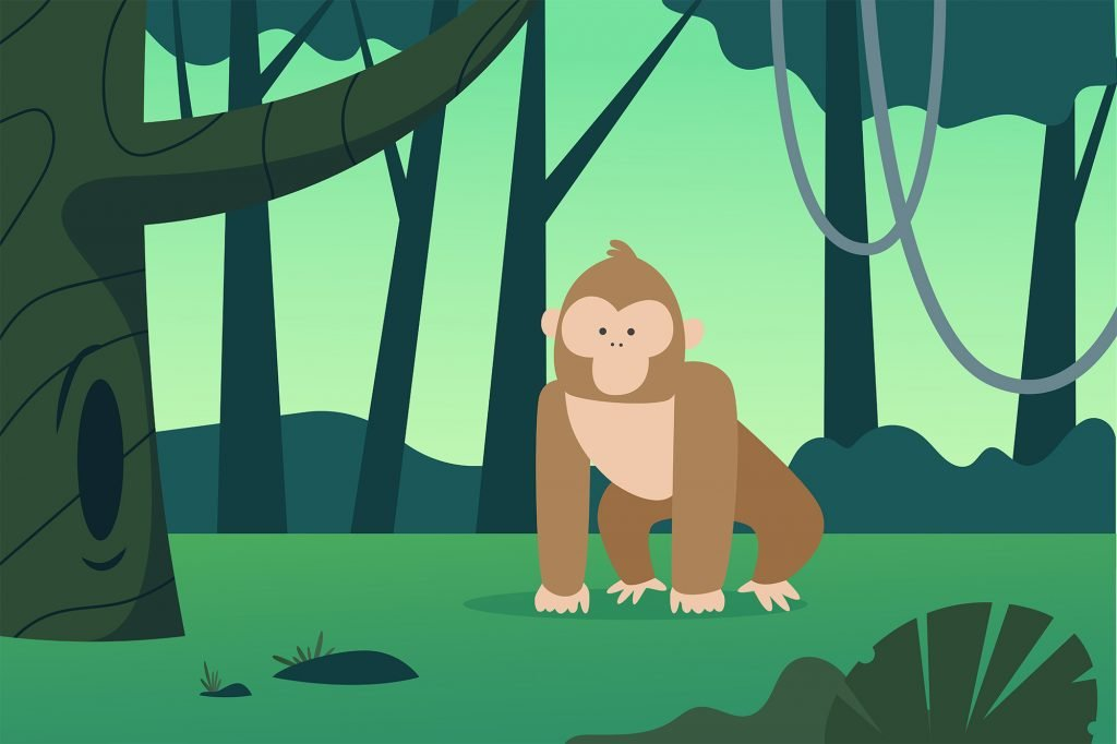 Drawing of a monkey in a forest